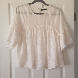 Forever 21 Tops - INA Babydoll Top with Floral Appliques